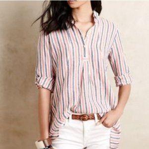 [Anthropologie] Linen Blend Striped Popover Blouse